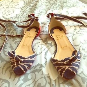 Christian Louboutin Denim/ Red Suede Lace Up Flats